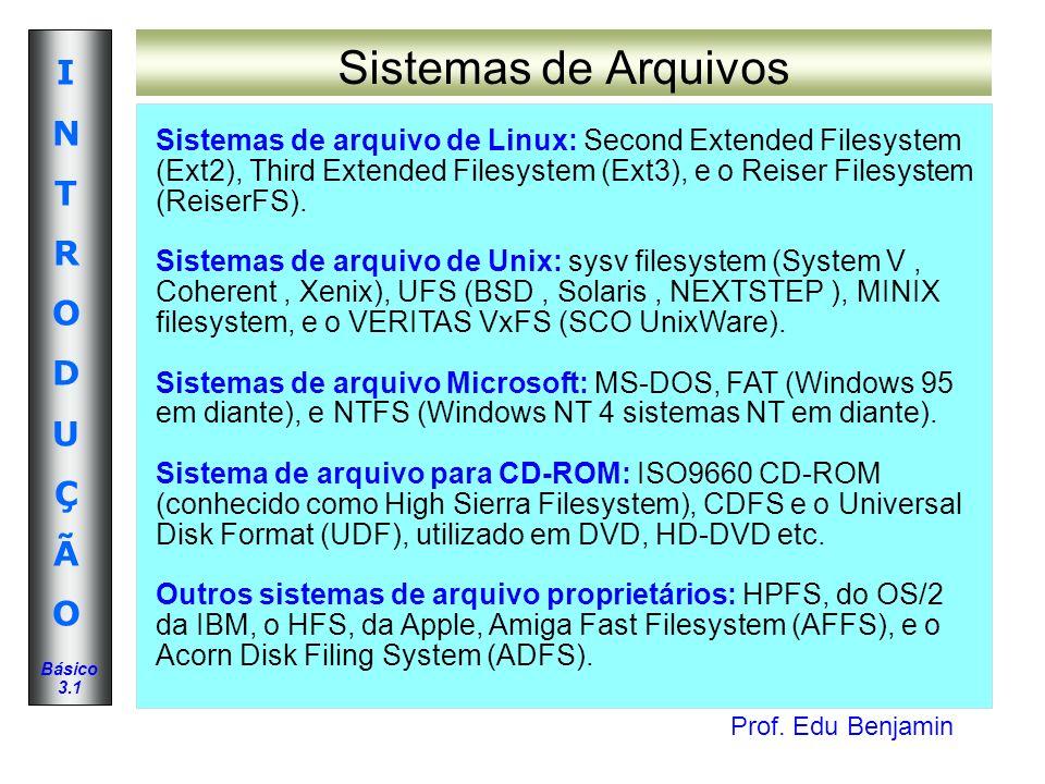 Prof. Edu Benjamin INTRODUÇÃOINTRODUÇÃO Básico 3.1 Sistemas de Arquivos Sistemas de arquivo de Linux: Second Extended Filesystem (Ext2), Third Extende