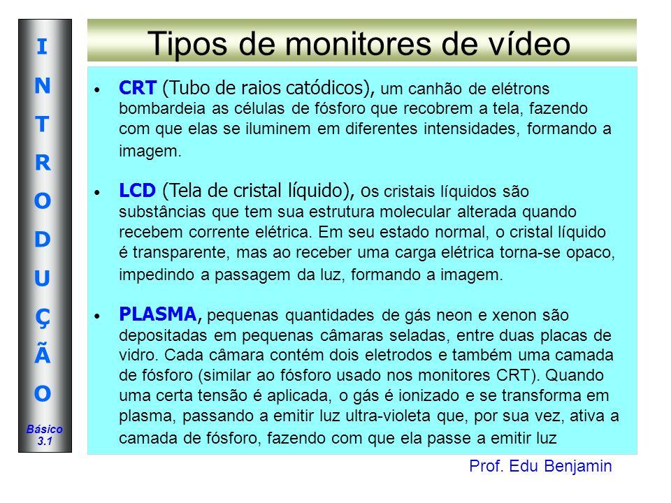 Prof. Edu Benjamin INTRODUÇÃOINTRODUÇÃO Básico 3.1 Tipos de monitores de vídeo CRT (Tubo de raios catódicos), um canhão de elétrons bombardeia as célu