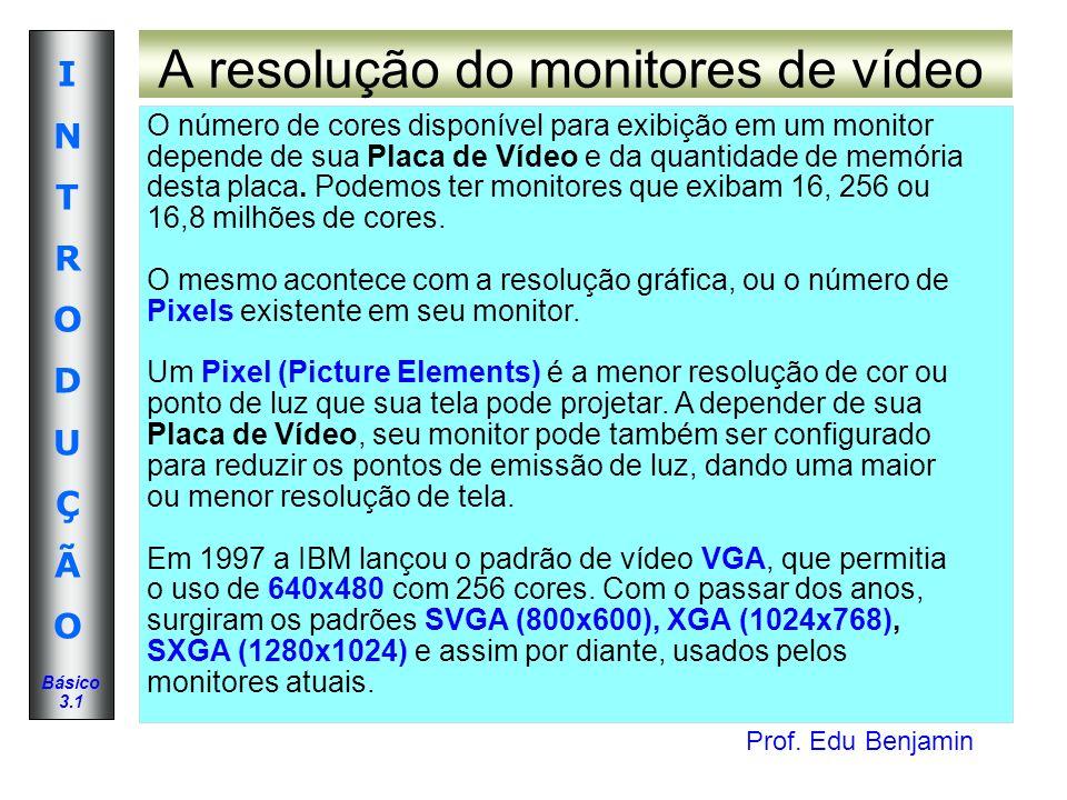 Prof. Edu Benjamin INTRODUÇÃOINTRODUÇÃO Básico 3.1 A resolução do monitores de vídeo O número de cores disponível para exibição em um monitor depende