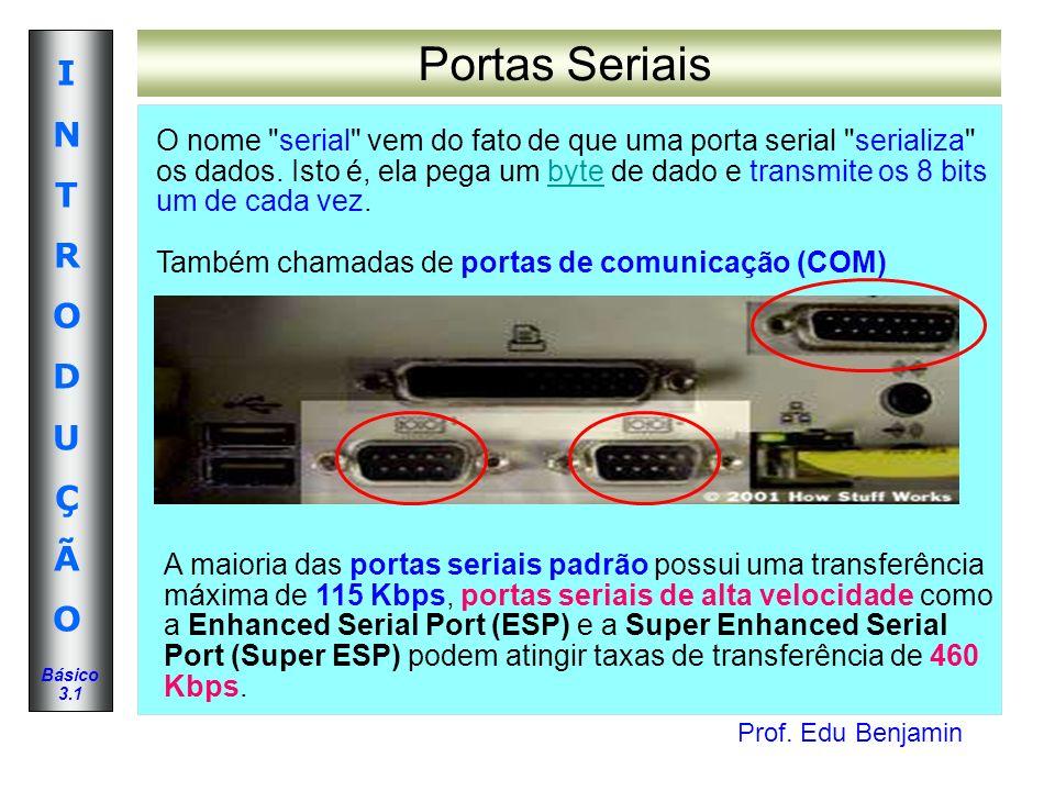 Prof. Edu Benjamin INTRODUÇÃOINTRODUÇÃO Básico 3.1 Portas Seriais O nome