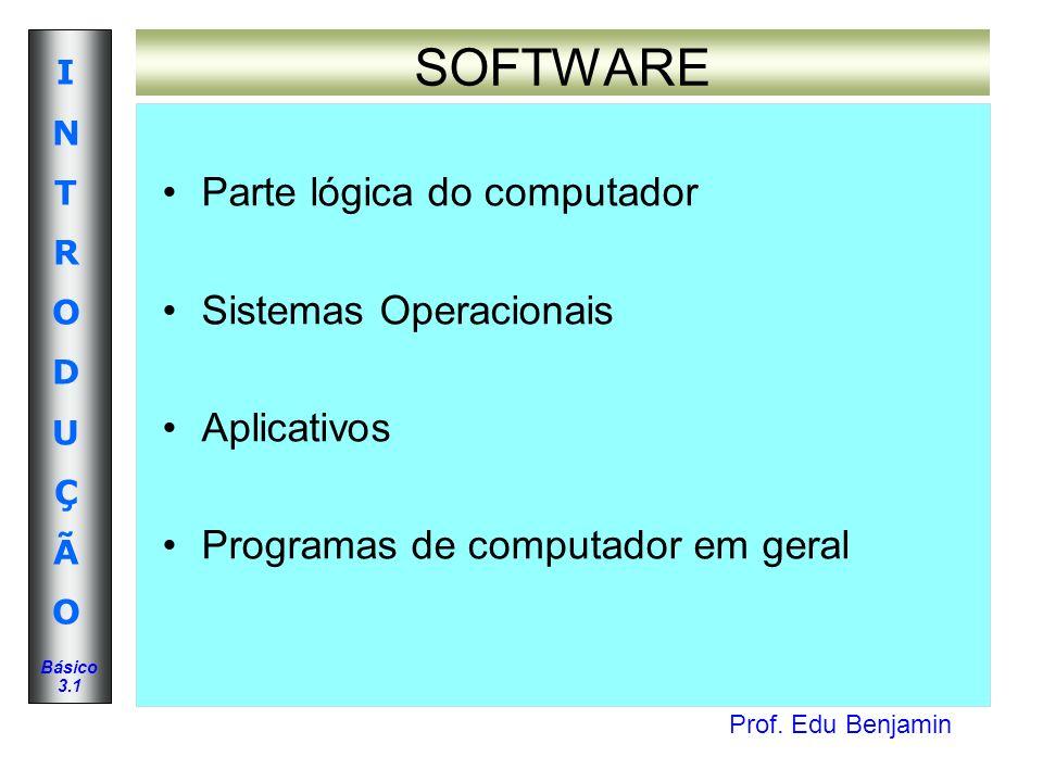 Prof. Edu Benjamin INTRODUÇÃOINTRODUÇÃO Básico 3.1 SOFTWARE Parte lógica do computador Sistemas Operacionais Aplicativos Programas de computador em ge