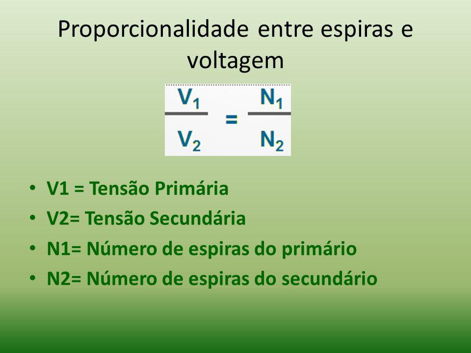Proporcionalidade entre espiras e voltagem V1 = Tensão Primária V2= Tensão Secundária N1= Número de espiras do primário N2= Número de espiras do secun