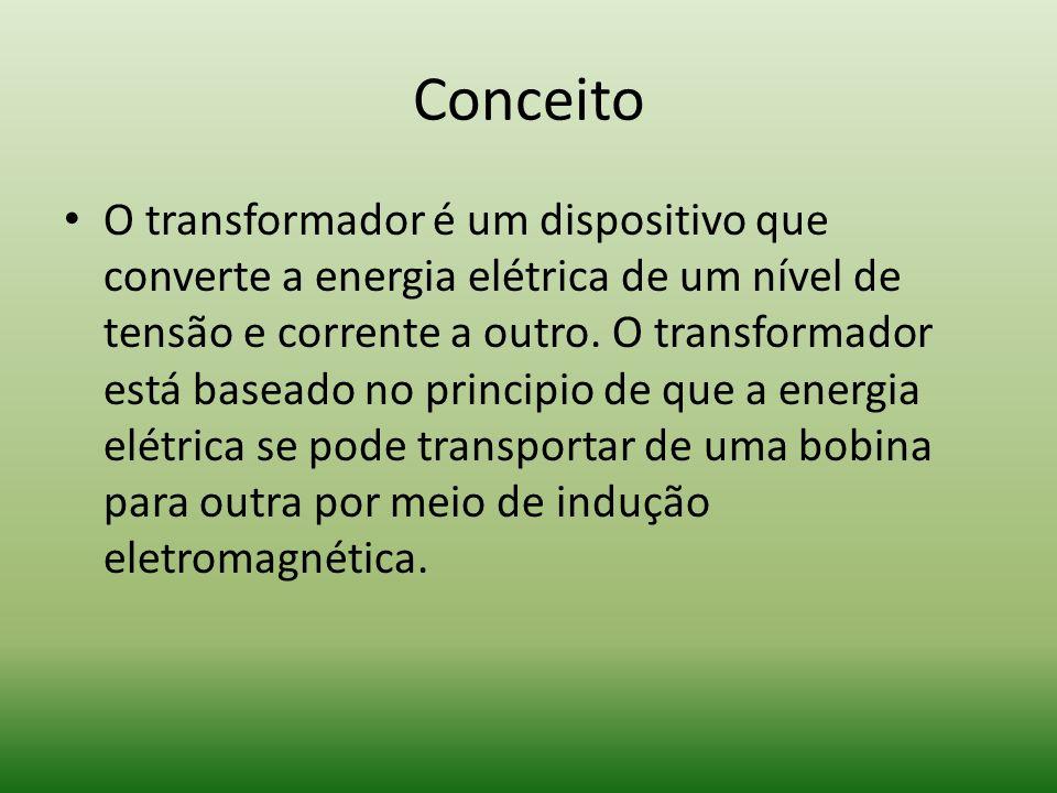 Conceito O transformador é um dispositivo que converte a energia elétrica de um nível de tensão e corrente a outro. O transformador está baseado no pr