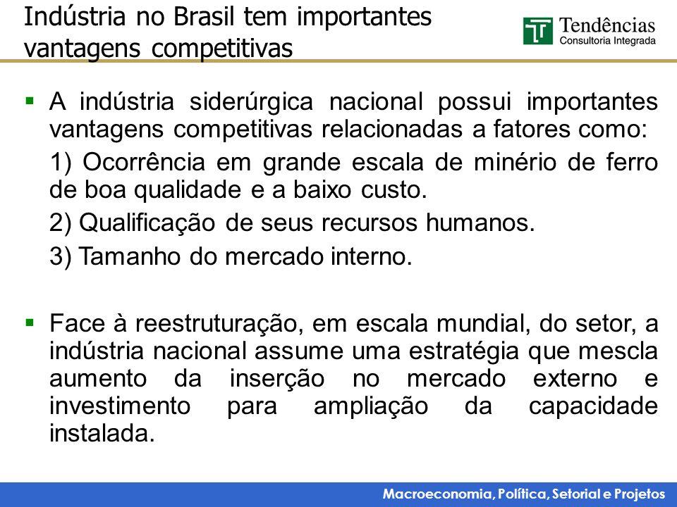 Macroeconomia, Política, Setorial e Projetos Indústria no Brasil tem importantes vantagens competitivas A indústria siderúrgica nacional possui import