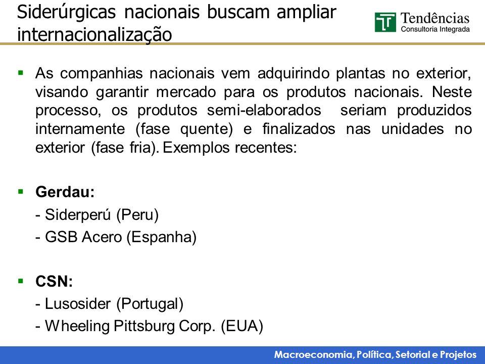 Macroeconomia, Política, Setorial e Projetos Siderúrgicas nacionais buscam ampliar internacionalização As companhias nacionais vem adquirindo plantas