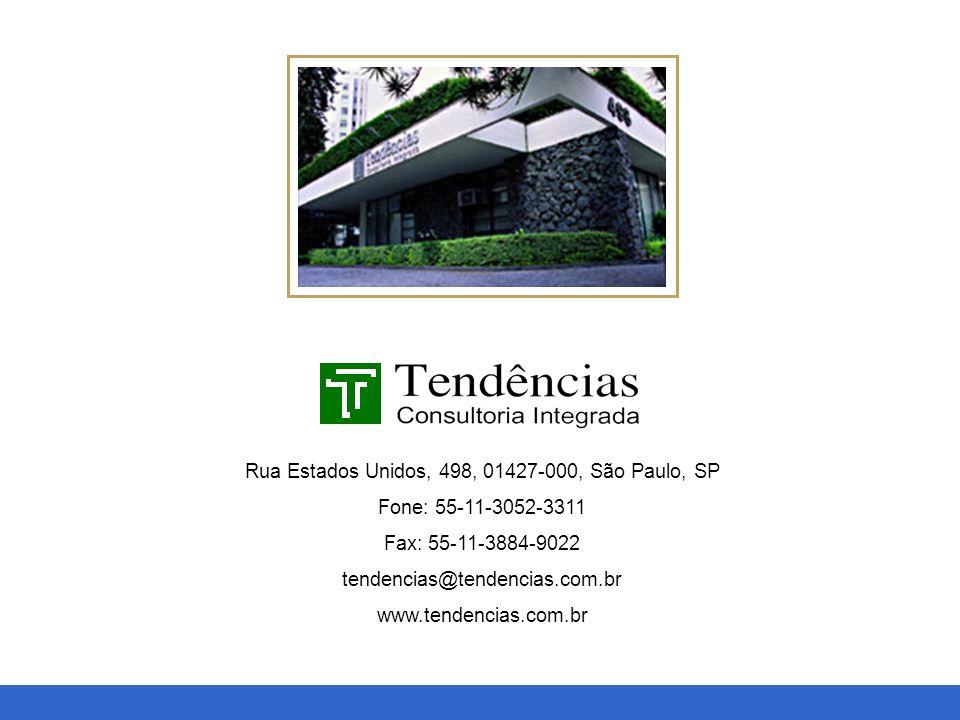 Macroeconomia, Política, Setorial e Projetos Rua Estados Unidos, 498, 01427-000, São Paulo, SP Fone: 55-11-3052-3311 Fax: 55-11-3884-9022 tendencias@t