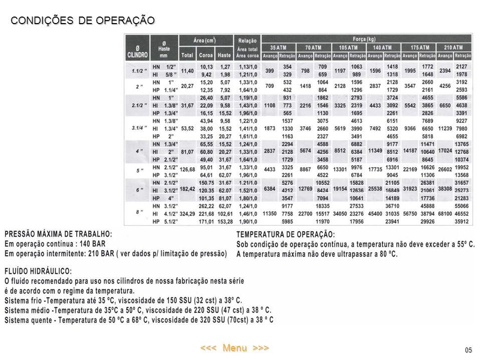 CONDIÇÕES DE OPERAÇÃO 05 <<< Menu >>>