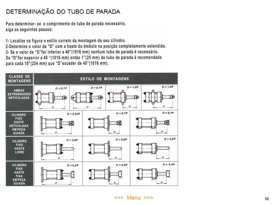 DETERMINAÇÃO DO TUBO DE PARADA 06 <<< Menu >>>