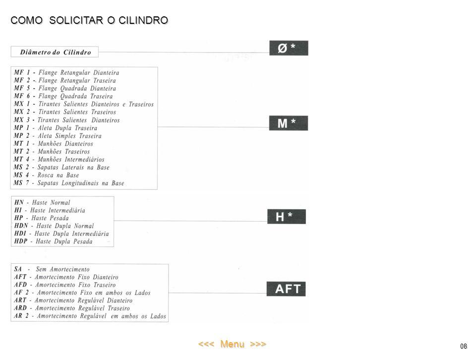 COMO SOLICITAR O CILINDRO 08 <<< Menu >>>