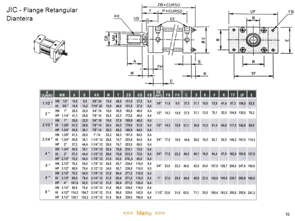 JIC - Flange Retangular Dianteira 10 <<< Menu >>>