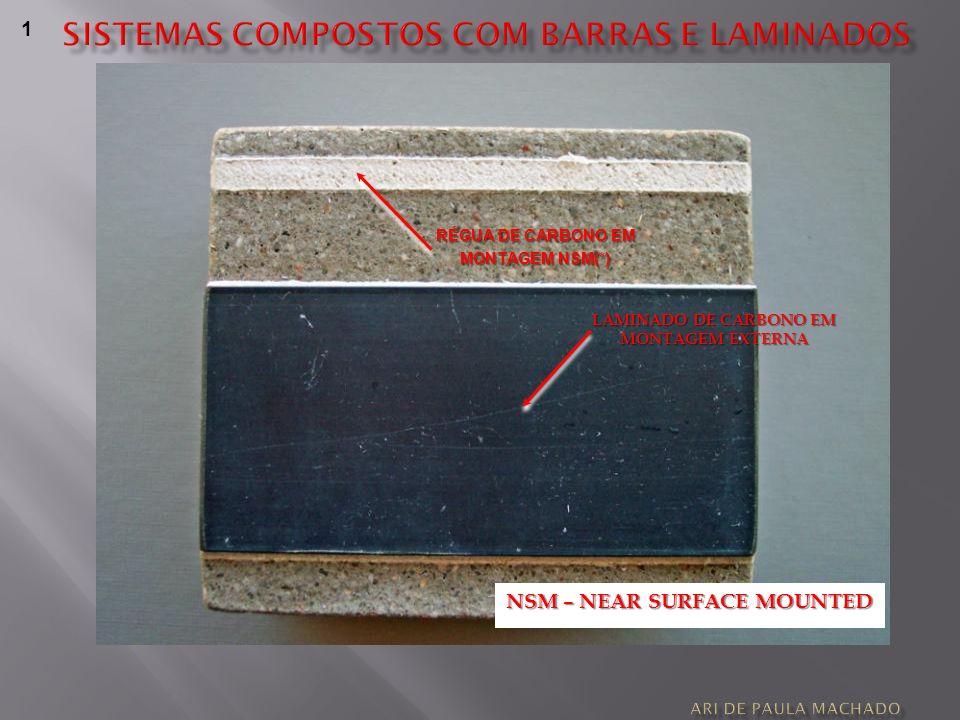 LAMINADO DE CARBONO EM MONTAGEM EXTERNA 1 RÉGUA DE CARBONO EM MONTAGEM NSM(*) NSM – NEAR SURFACE MOUNTED