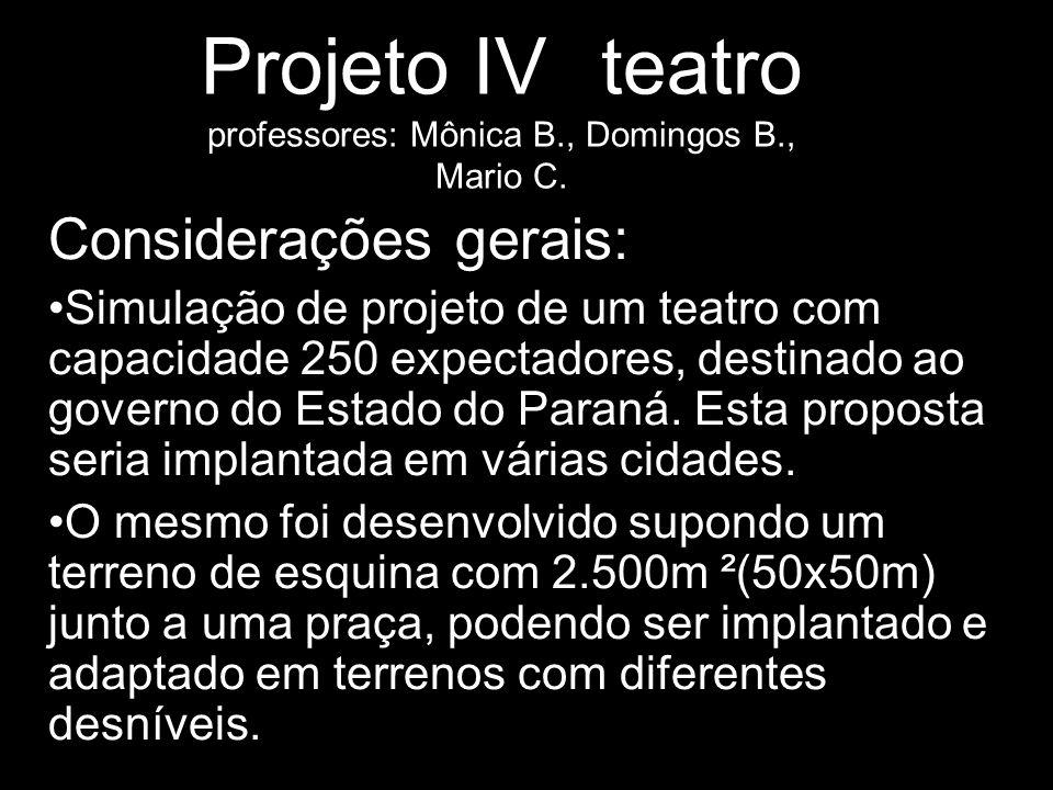 Projeto IV teatro professores: Mônica B., Domingos B., Mario C. Considerações gerais: Simulação de projeto de um teatro com capacidade 250 expectadore