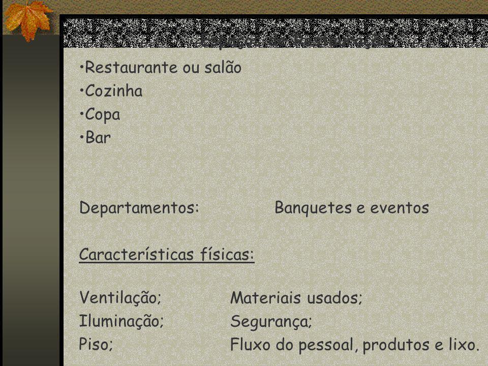 Espaços de Restauração Restaurante ou salão Cozinha Copa Bar Departamentos:Banquetes e eventos Características físicas: Ventilação; Iluminação; Piso; Materiais usados; Segurança; Fluxo do pessoal, produtos e lixo.