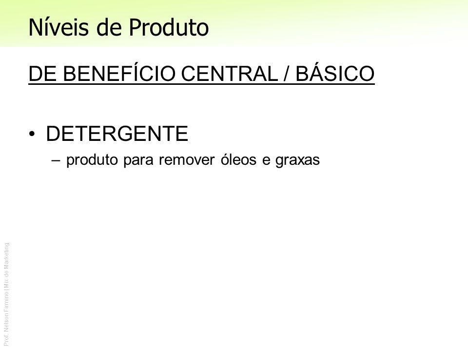 Prof. Nelson Firmino | Mix de Marketing Níveis de Produto DE BENEFÍCIO CENTRAL / BÁSICO DETERGENTE –produto para remover óleos e graxas