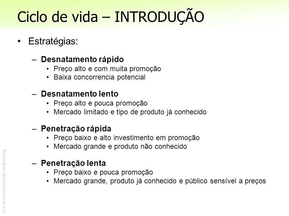 Prof. Nelson Firmino | Mix de Marketing Ciclo de vida – INTRODUÇÃO Estratégias: –Desnatamento rápido Preço alto e com muita promoção Baixa concorrenci