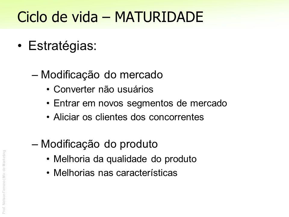 Prof. Nelson Firmino | Mix de Marketing Ciclo de vida – MATURIDADE Estratégias: –Modificação do mercado Converter não usuários Entrar em novos segment