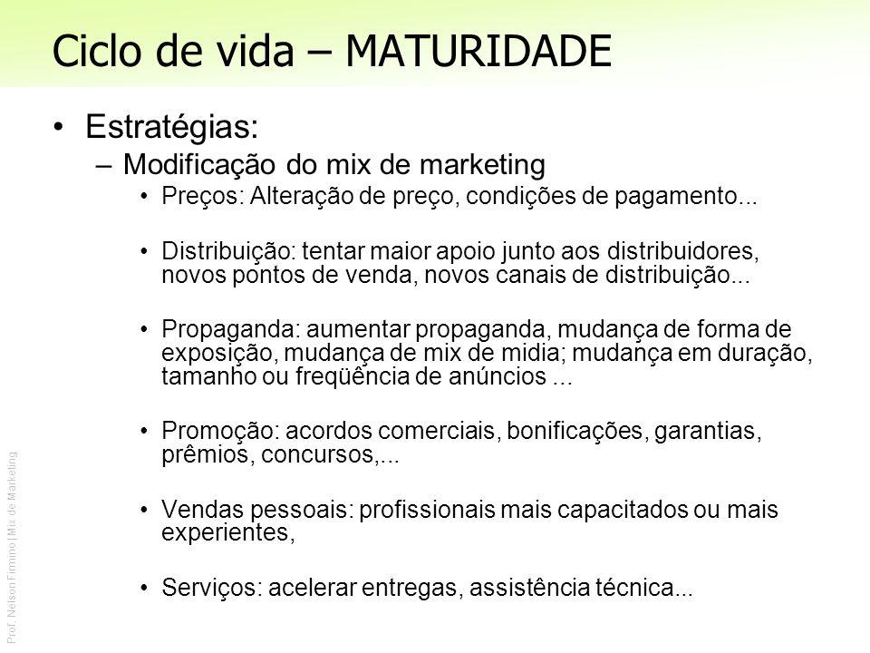 Prof. Nelson Firmino | Mix de Marketing Ciclo de vida – MATURIDADE Estratégias: –Modificação do mix de marketing Preços: Alteração de preço, condições