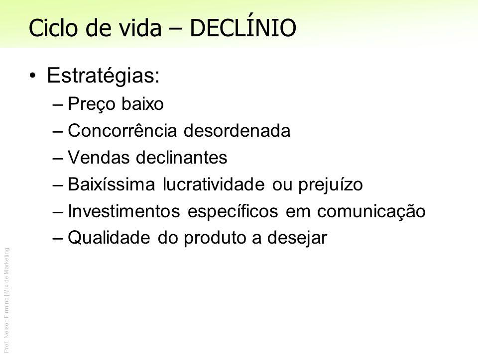 Prof. Nelson Firmino | Mix de Marketing Ciclo de vida – DECLÍNIO Estratégias: –Preço baixo –Concorrência desordenada –Vendas declinantes –Baixíssima l