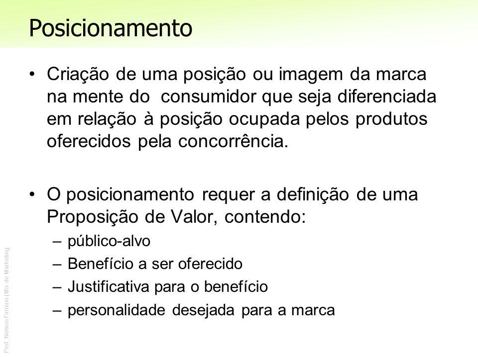 Prof. Nelson Firmino | Mix de Marketing Posicionamento Criação de uma posição ou imagem da marca na mente do consumidor que seja diferenciada em relaç