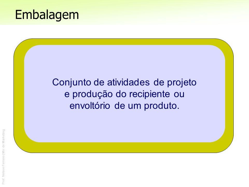 Prof. Nelson Firmino | Mix de Marketing Conjunto de atividades de projeto e produção do recipiente ou envoltório de um produto. Embalagem