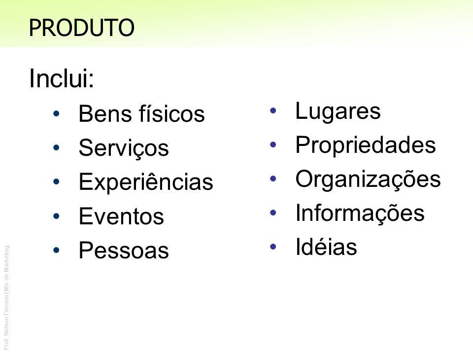 Prof. Nelson Firmino | Mix de Marketing PRODUTO Inclui: Bens físicos Serviços Experiências Eventos Pessoas Lugares Propriedades Organizações Informaçõ