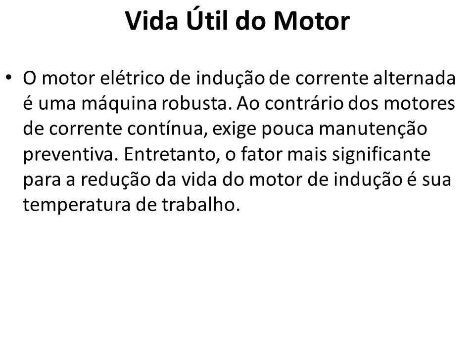 Vida Útil do Motor O motor elétrico de indução de corrente alternada é uma máquina robusta. Ao contrário dos motores de corrente contínua, exige pouca