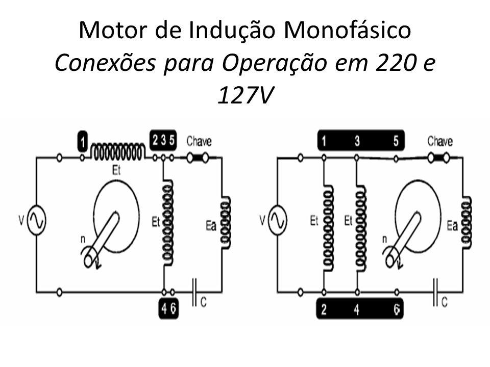 Motor de Indução Monofásico Conexões para Operação em 220 e 127V