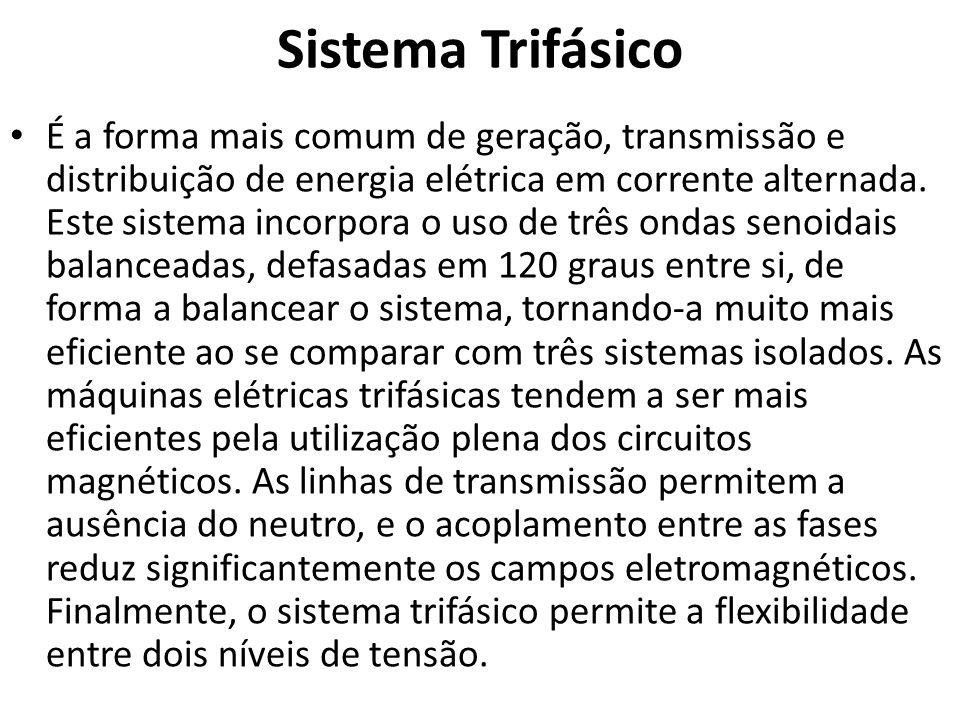 Sistema Trifásico É a forma mais comum de geração, transmissão e distribuição de energia elétrica em corrente alternada. Este sistema incorpora o uso