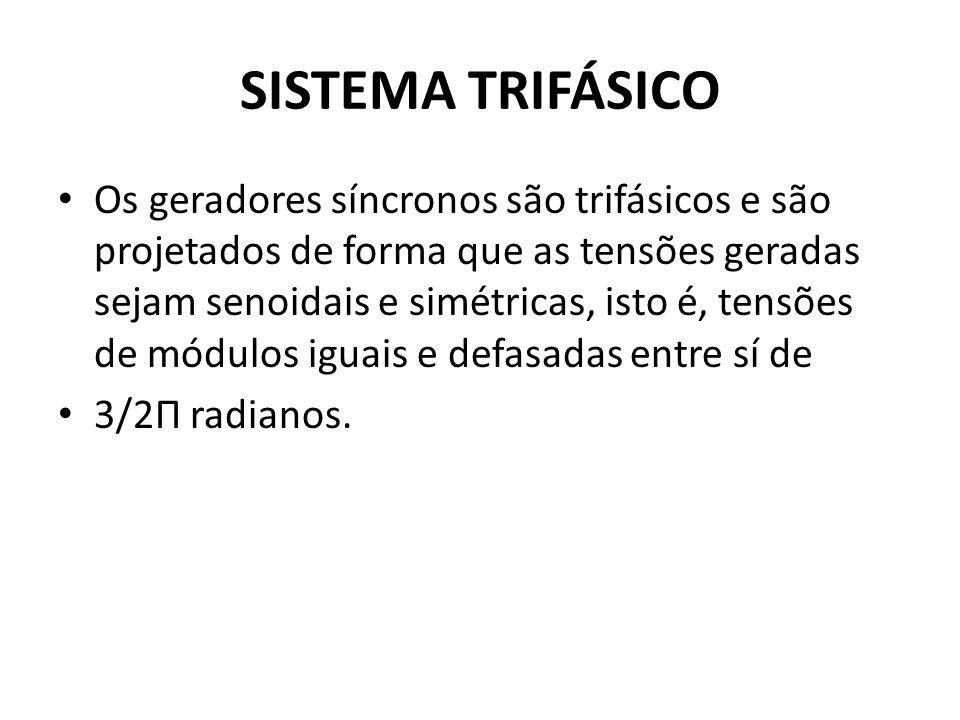 SISTEMA TRIFÁSICO Os geradores síncronos são trifásicos e são projetados de forma que as tensões geradas sejam senoidais e simétricas, isto é, tensões
