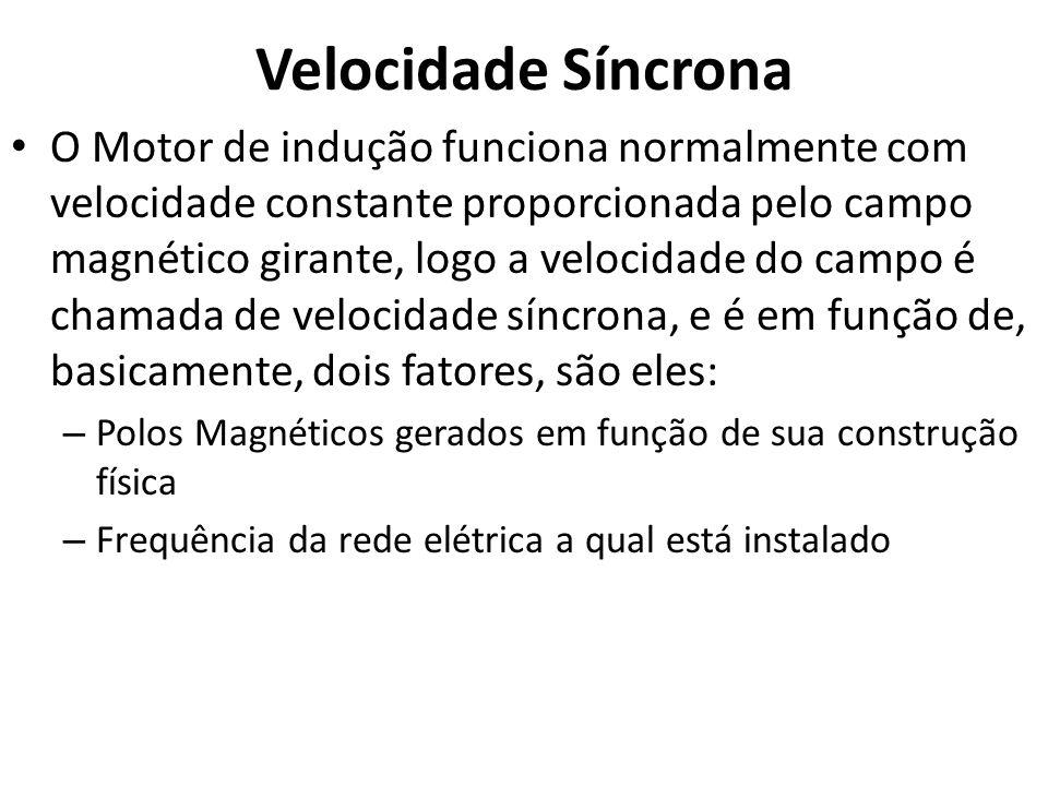 Velocidade Síncrona O Motor de indução funciona normalmente com velocidade constante proporcionada pelo campo magnético girante, logo a velocidade do