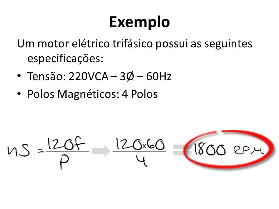 Exemplo Um motor elétrico trifásico possui as seguintes especificações: Tensão: 220VCA – 3Ø – 60Hz Polos Magnéticos: 4 Polos