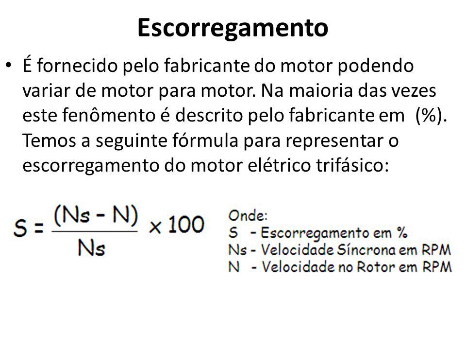 Escorregamento É fornecido pelo fabricante do motor podendo variar de motor para motor. Na maioria das vezes este fenômento é descrito pelo fabricante