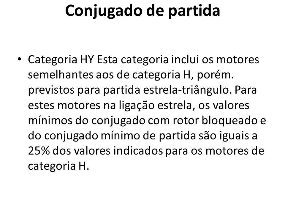 Conjugado de partida Categoria HY Esta categoria inclui os motores semelhantes aos de categoria H, porém. previstos para partida estrela-triângulo. Pa