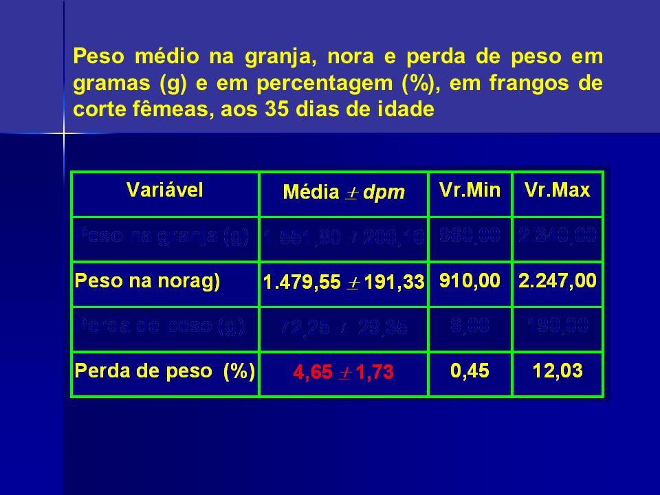 Peso médio na granja, nora e perda de peso em gramas (g) e em percentagem (%), em frangos de corte fêmeas, aos 35 dias de idade