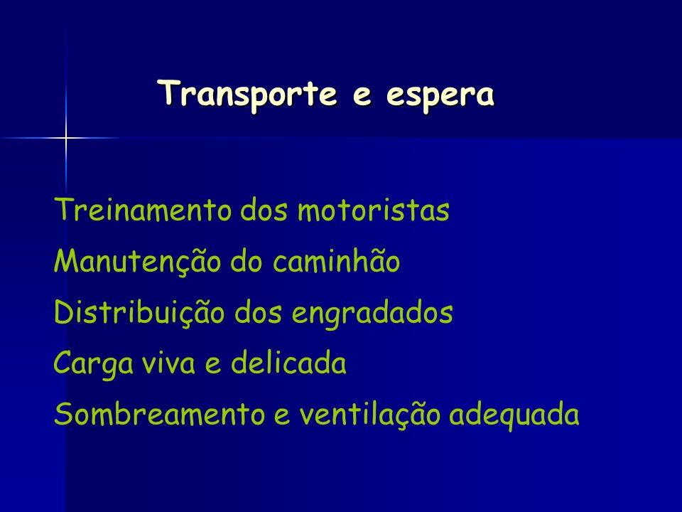 Transporte e espera Treinamento dos motoristas Manutenção do caminhão Distribuição dos engradados Carga viva e delicada Sombreamento e ventilação adeq