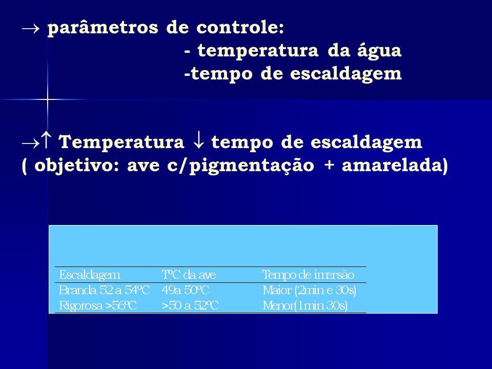 parâmetros de controle: - temperatura da água -tempo de escaldagem Temperatura tempo de escaldagem ( objetivo: ave c/pigmentação + amarelada)