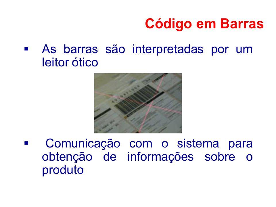 As barras são interpretadas por um leitor ótico Comunicação com o sistema para obtenção de informações sobre o produto Código em Barras