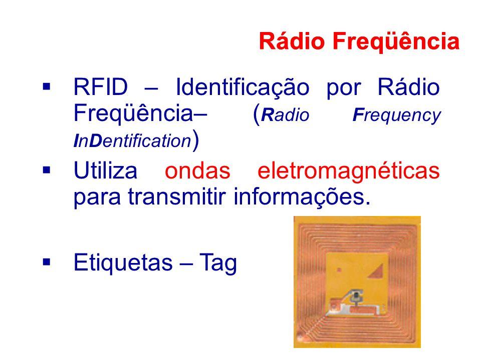 RFID – Identificação por Rádio Freqüência– ( Radio Frequency InDentification ) Utiliza ondas eletromagnéticas para transmitir informações. Rádio Freqü