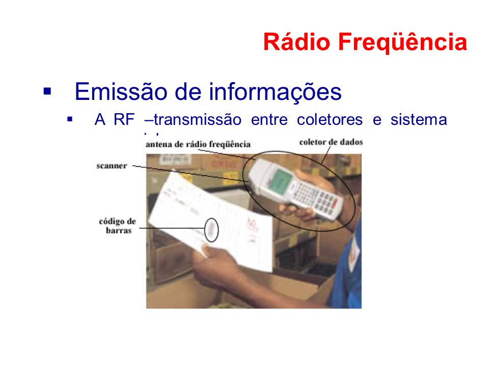 Emissão de informações A RF –transmissão entre coletores e sistema gerencial Rádio Freqüência