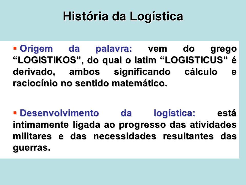 História da Logística Origem da palavra: vem do grego LOGISTIKOS, do qual o latim LOGISTICUS é derivado, ambos significando cálculo e raciocínio no se