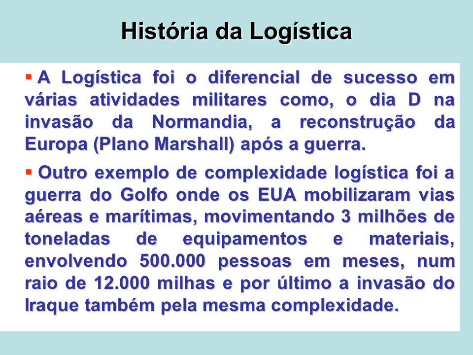 História da Logística A Logística foi o diferencial de sucesso em várias atividades militares como, o dia D na invasão da Normandia, a reconstrução da
