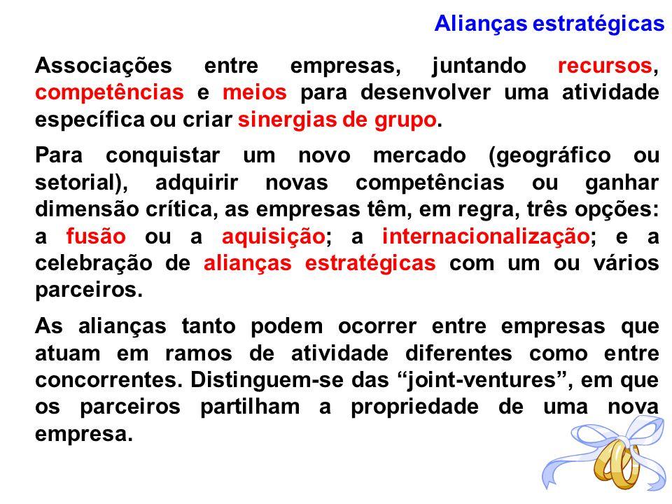 Alianças estratégicas Associações entre empresas, juntando recursos, competências e meios para desenvolver uma atividade específica ou criar sinergias