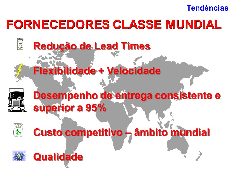 FORNECEDORES CLASSE MUNDIAL Redução de Lead Times Flexibilidade + Velocidade Desempenho de entrega consistente e superior a 95% Custo competitivo – âm