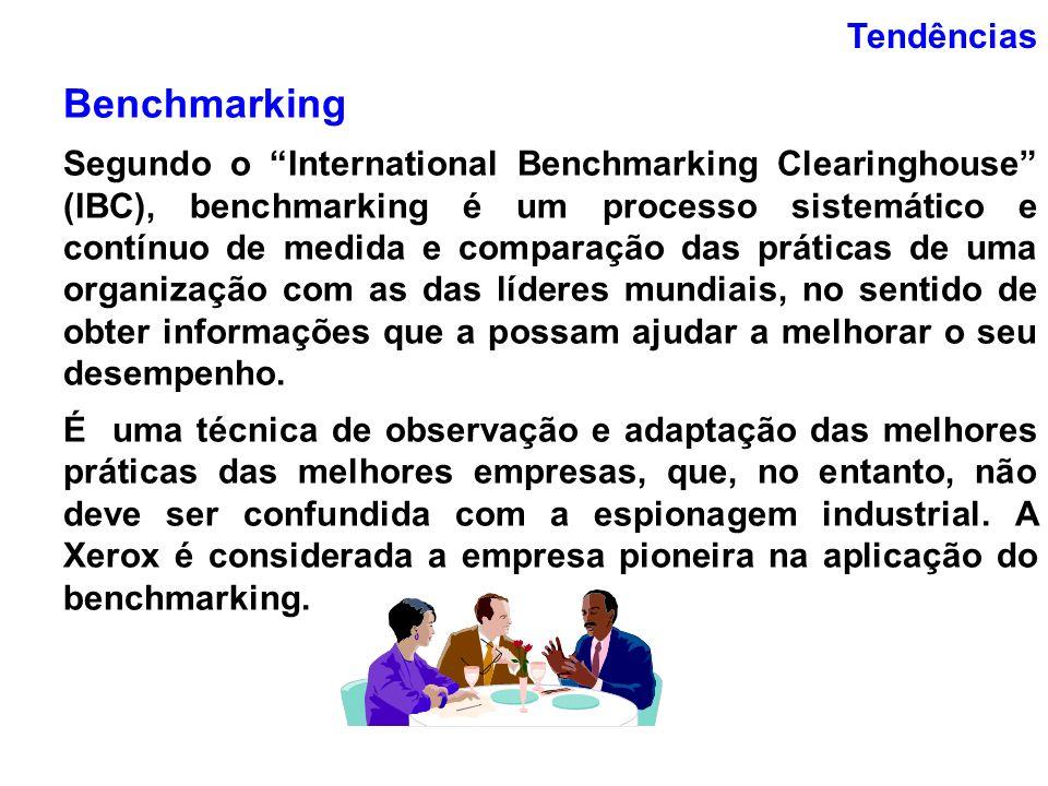 Tendências Benchmarking Segundo o International Benchmarking Clearinghouse (IBC), benchmarking é um processo sistemático e contínuo de medida e compar