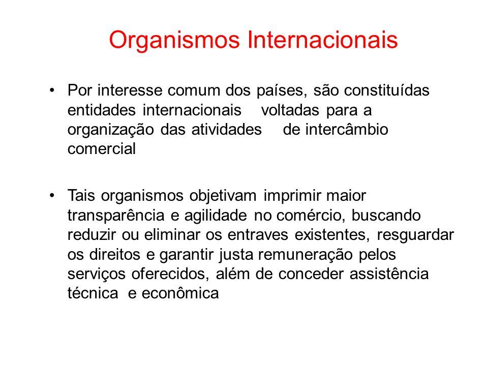 Organismos Internacionais Por interesse comum dos países, são constituídas entidades internacionais voltadas para a organização das atividades de inte
