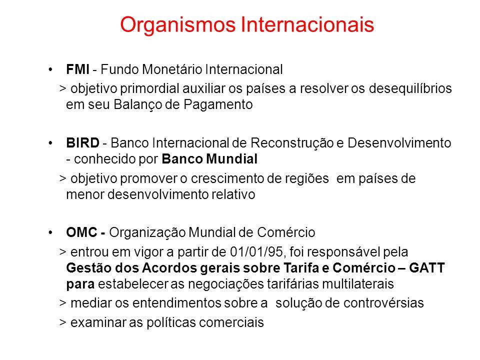 Organismos Internacionais FMI - Fundo Monetário Internacional > objetivo primordial auxiliar os países a resolver os desequilíbrios em seu Balanço de
