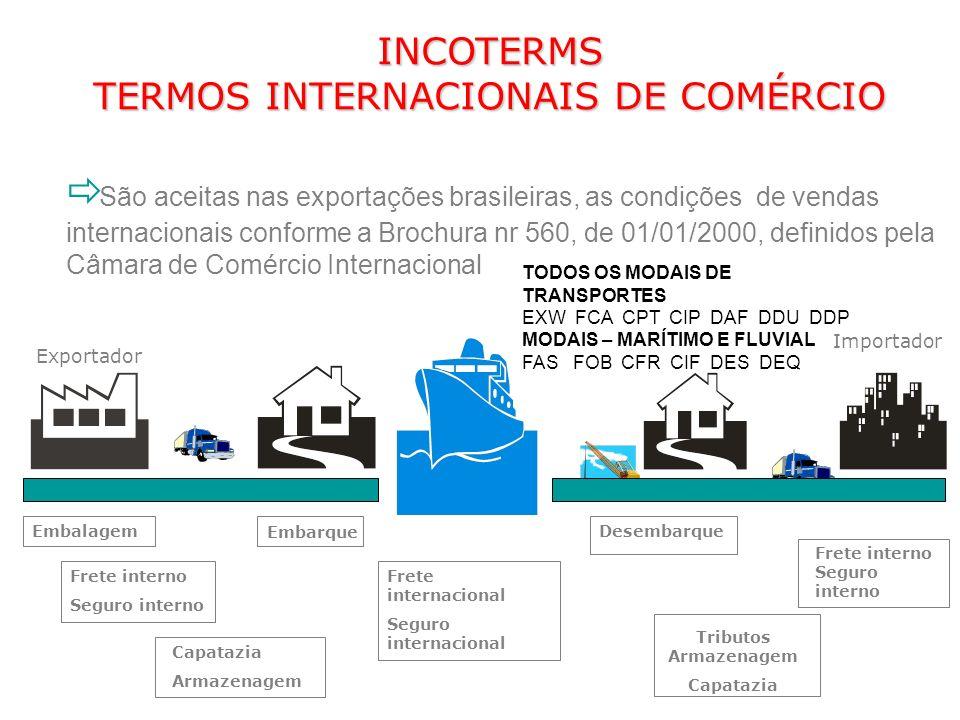 São aceitas nas exportações brasileiras, as condições de vendas internacionais conforme a Brochura nr 560, de 01/01/2000, definidos pela Câmara de Com