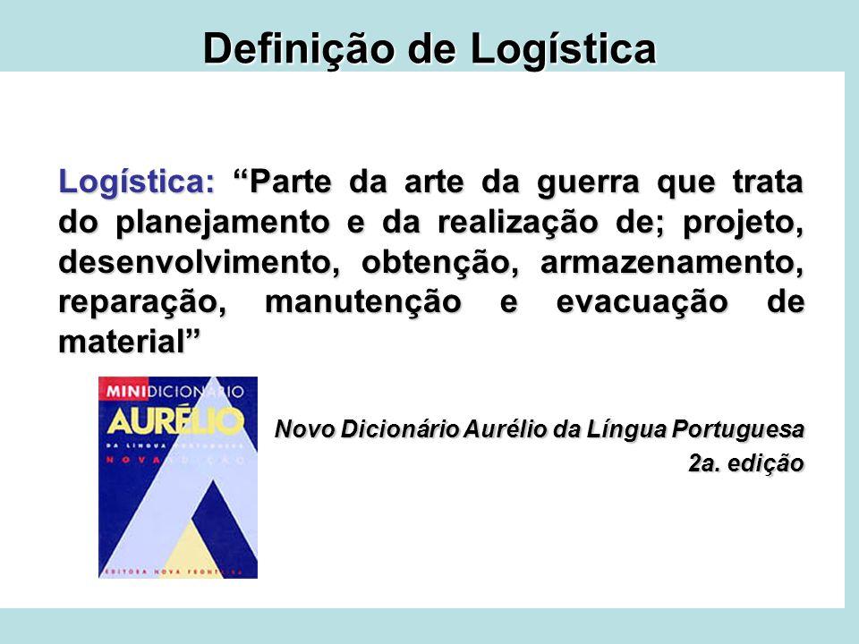 Definição de Logística Logística: Parte da arte da guerra que trata do planejamento e da realização de; projeto, desenvolvimento, obtenção, armazename