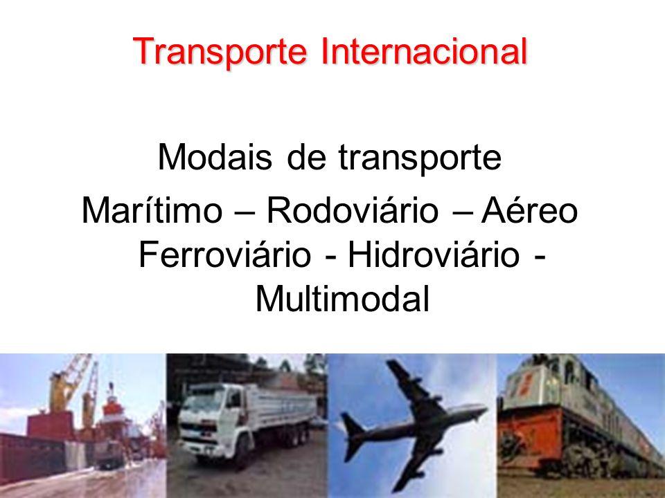 Transporte Internacional Modais de transporte Marítimo – Rodoviário – Aéreo Ferroviário - Hidroviário - Multimodal