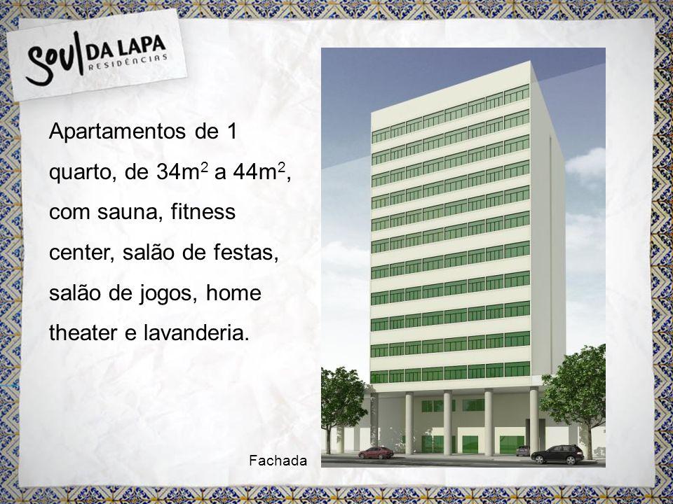 Apartamentos de 1 quarto, de 34m 2 a 44m 2, com sauna, fitness center, salão de festas, salão de jogos, home theater e lavanderia.